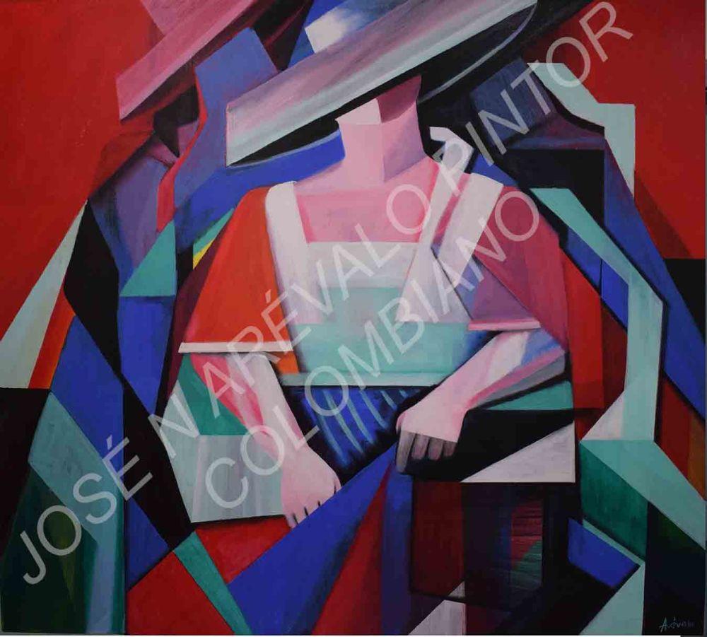 El cortejo del mimo 1.40 x 1.25 by Jose Arevalo